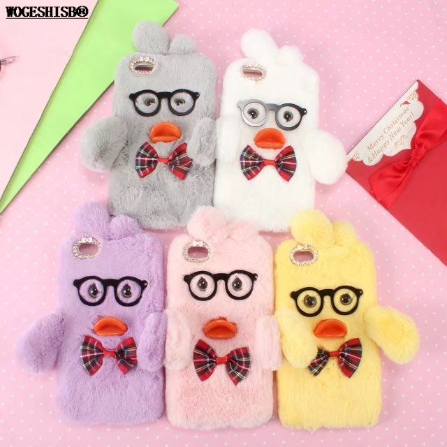 3D Cartoon Glasses Duck Case for iPhone X Cases Artificial Cony Hair Fur TPU Cover for iPhone 4 4S SE 5 5S 5C 6 6S 7 8 Plus
