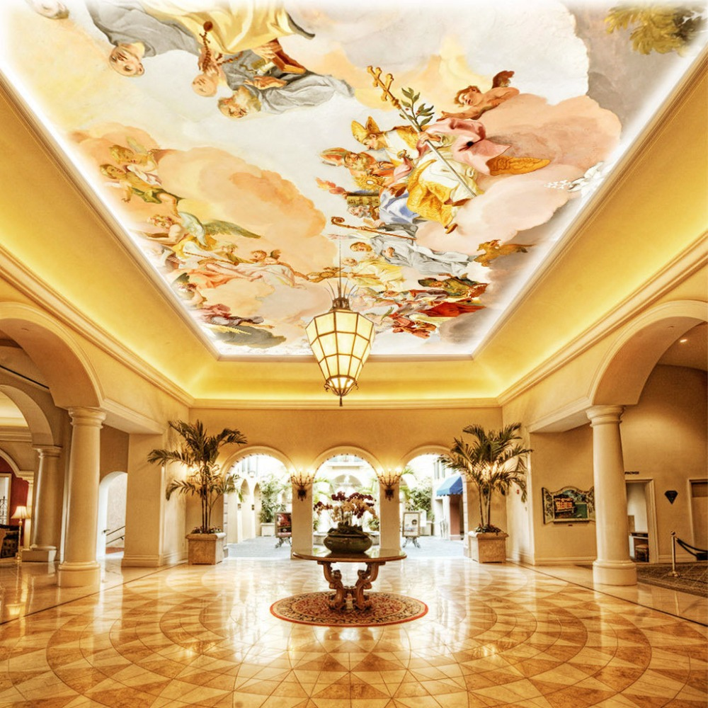 Design Ceiling Mural online get cheap ceiling suspended mural background high quality custom wallpaper fresco european style decorations 3d wall