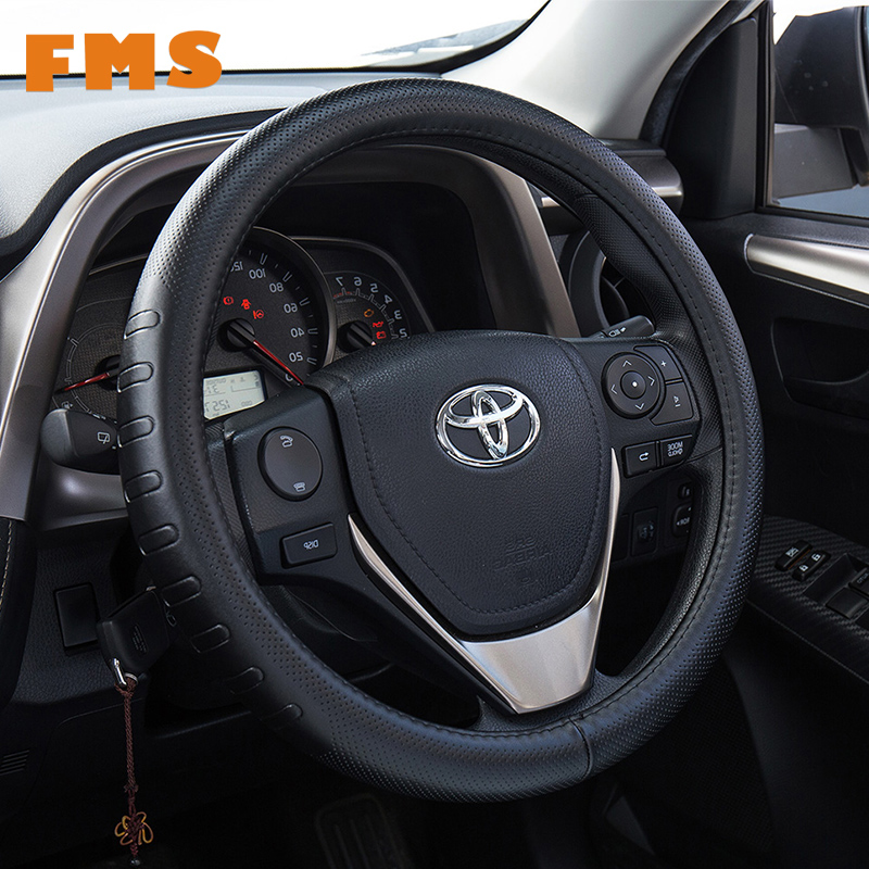 FMS Genuine Leather Steering Wheel Cover 38CM Diameter For BMW Toyota Auto Non-slip funda volante Case Car-Styling Accessories