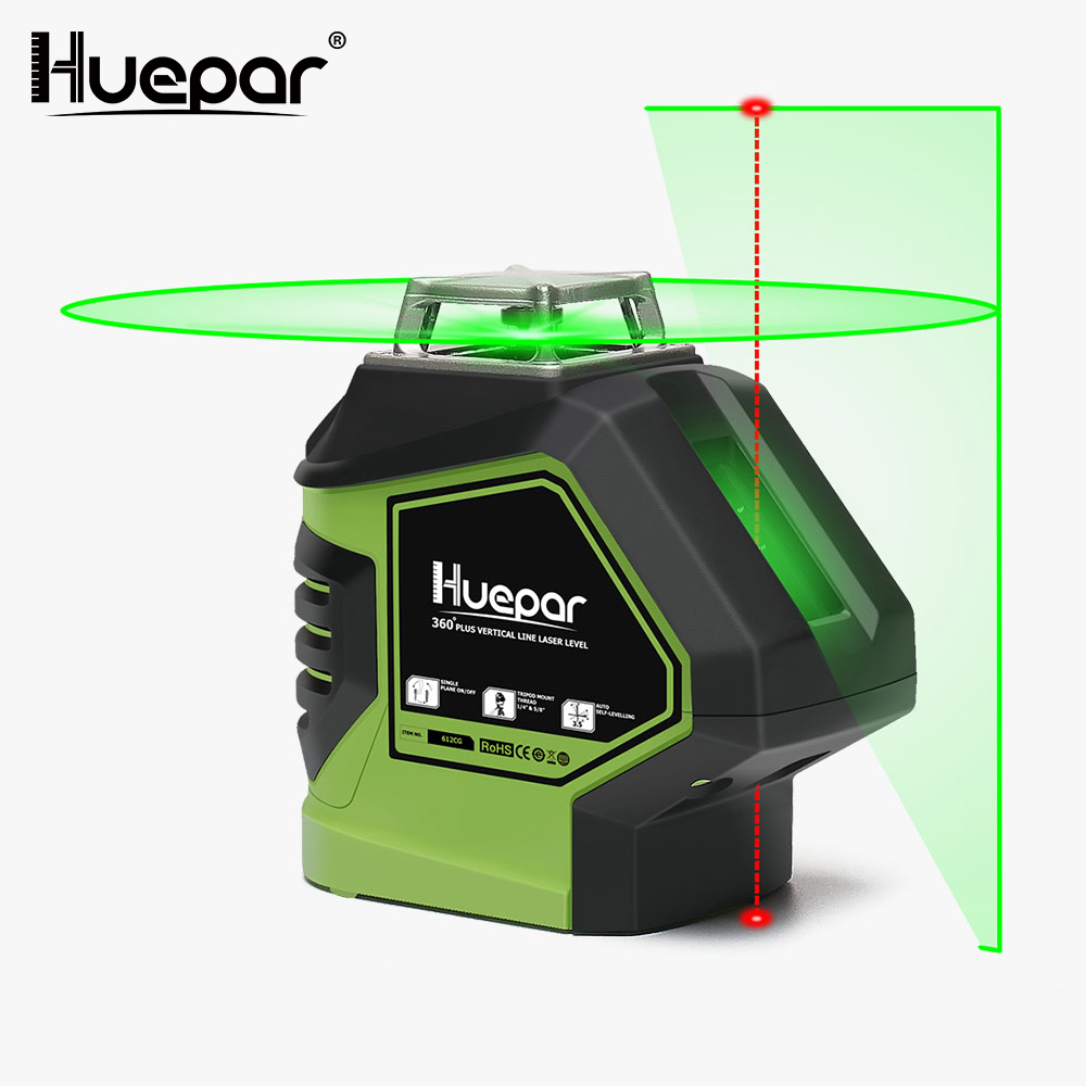 Huepar Green Beam Laser Level With 2 Plumb Dots Self-Leveling 360 3D Rotary Cross Line Vertical Horizontal 5 Line Measuring Tool