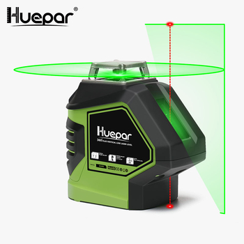 цена на Huepar Green Beam Laser Level with 2 Plumb Dots Self-Leveling 360 3D Rotary Cross Line Vertical Horizontal 5 Line Measuring Tool