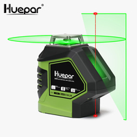 Huepar Green Beam Laser Level with 2 Plumb Dots Self Leveling 360 3D Rotary Cross Line Vertical Horizontal 5 Line Measuring Tool