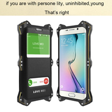Love meI Genuine leather phone case for Samsung galaxy s6 edge case metal shock protection cover for Samsung s6 case