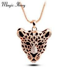 Магия ikery Высокое качество Золотой цвет цепи стразы леопард панда животное короткое ожерелье для женщин мужчин ювелирные изделия MKL5191