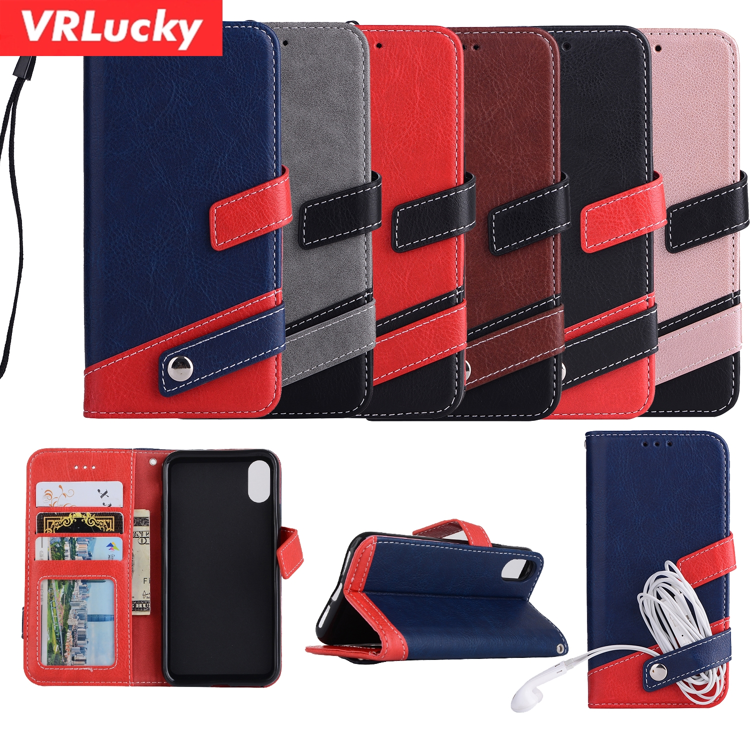VRLucky Magnetic Buckle Earphone Storage Leather Wallet Flip Phone Case With Card Slots For iPhone X 8 7 Plus 6 6s 5 5s SE