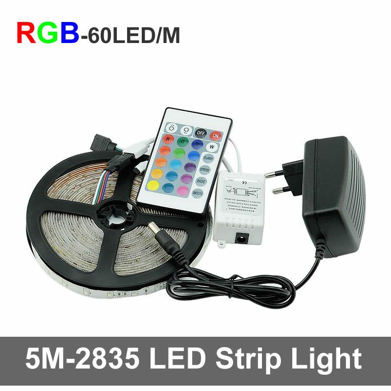 RGB LED Strip Light 2835 SMD Flexible Strip Light LED Tape Lamp 5M DC12V LED Strip Power Supply 2A IR Remote Controller