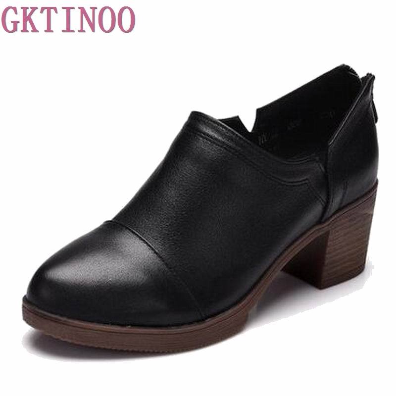 2019 Shoes Woman Thick Heel High Heel Round Toe Genuine Leather Women Pumps Spring Offical Shoes