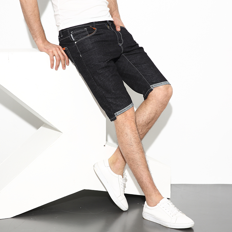 Korean Style Fashion Slim Fit Men Jeans Shorts Black Color Simple Wash Brand Denim Stretch Shorts Men Summer Casual Short Jeans