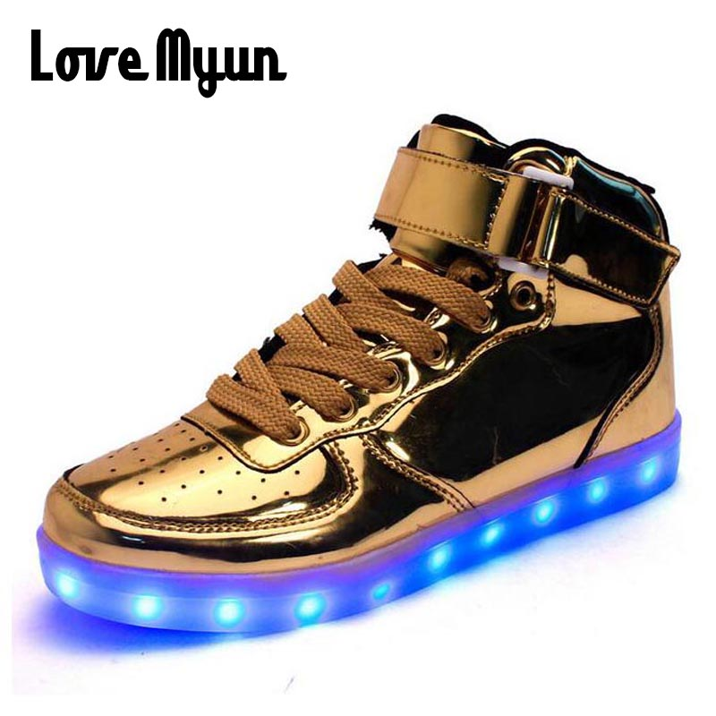 Mens lights up led luminous shoes high Top Shoes Gold Sliver luminous shoes LED glow USB charge Unisex adults neon baske DD-62 chic lights up led luminous and colour block design women s athletic shoes