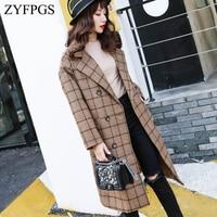 ZYFPGS 2018 Winter Top Overcoat Plaid Retro Women Fashion Design Sales New Arrival Warm Woolen Coat Double breasted Z1005