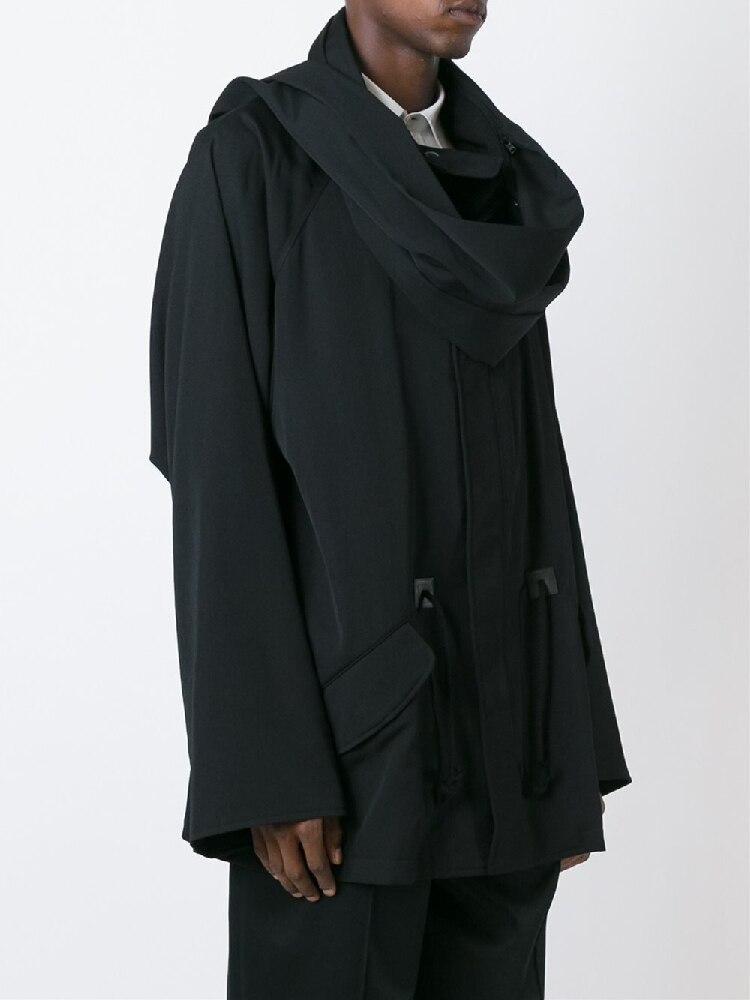 M-6XL!!! 2018 Original and original new style men's loose   trench   coat yamamoto dark and detachable scarf design coat