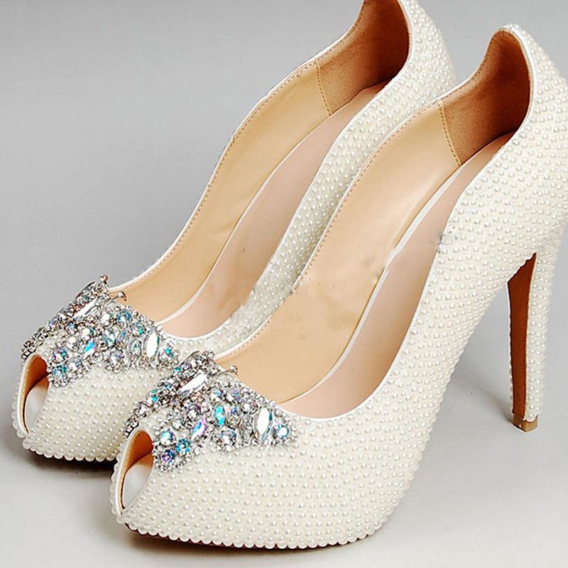 New Party Pumps White Wedding Dress Shoes Bridal Shoes Gorgeous High Heel Shoes Imitation Pearl Rhinestone Shoes
