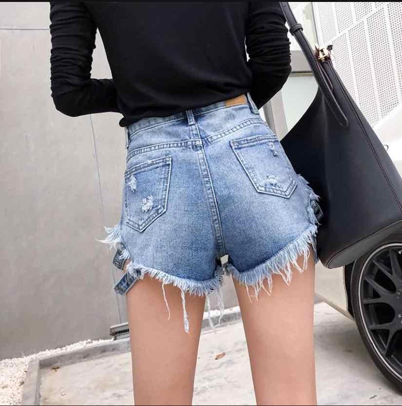 Kobiet lato wysoka talia biały/czarny/niebieski jeansowe koszule Tassel boczne wstążka nit spodenki dżinsowe S/Xl kobiet Sexy hot krótki J2937