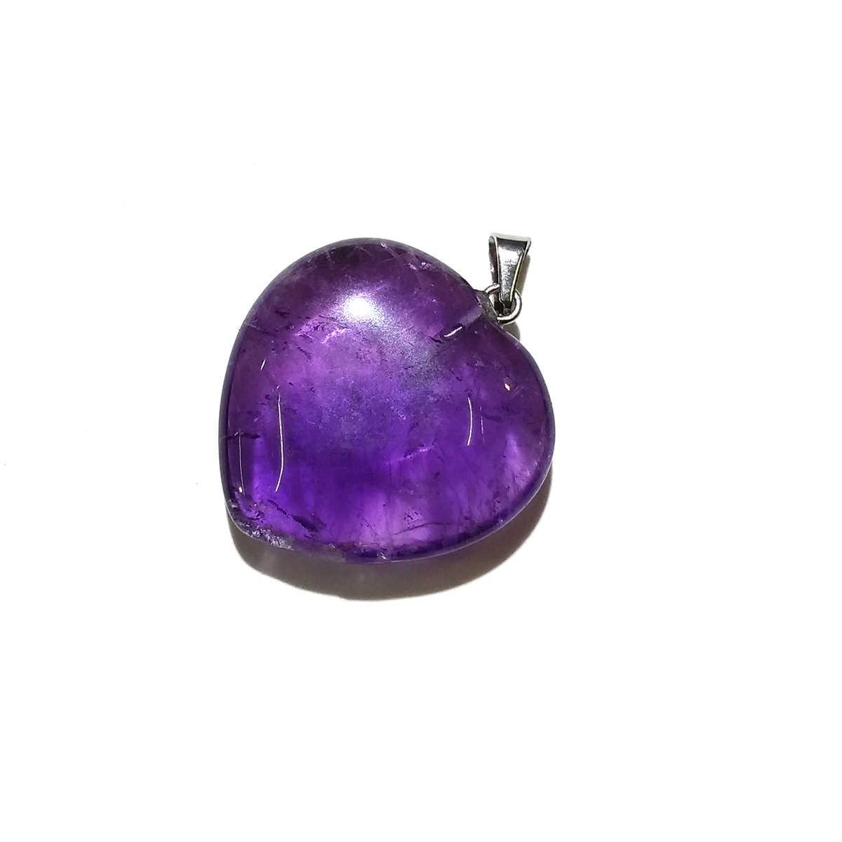 Amethysts הטבעי תליוני לב צורת מזל אבן קריסטל תליון עבור תכשיטי ביצוע שרשרת