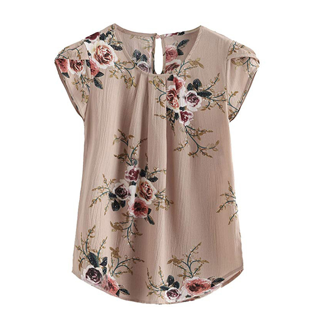 Pleated Basic Ladies Blouses Flower Shirt Women's Female Summer Short-sleeved Shirt Loose Blouse Cotton Top Womens Blusas Mujer