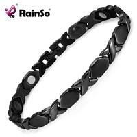 Rainso New Black Titanium 4 Elements Bracelets For Women Elegant Magnetic Therapy Link Bracelet For Health