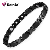 Rainso New Black Titanium 4 Elements Bracelets For Women Elegant Magnetic Therapy Link Bracelet For Health