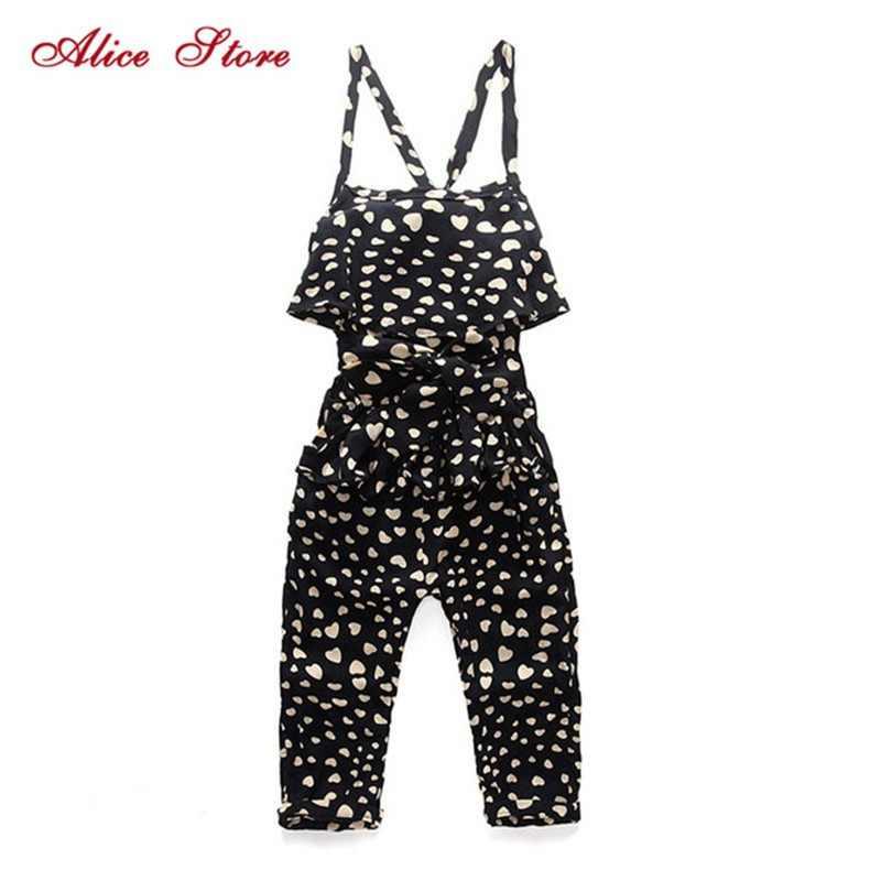 ecab302da364 New Fashion Summer Kids Girls Clothing Sets Cotton Sleeveless Polka Dot  Strap Girls Jumpsuit Clothes Sets