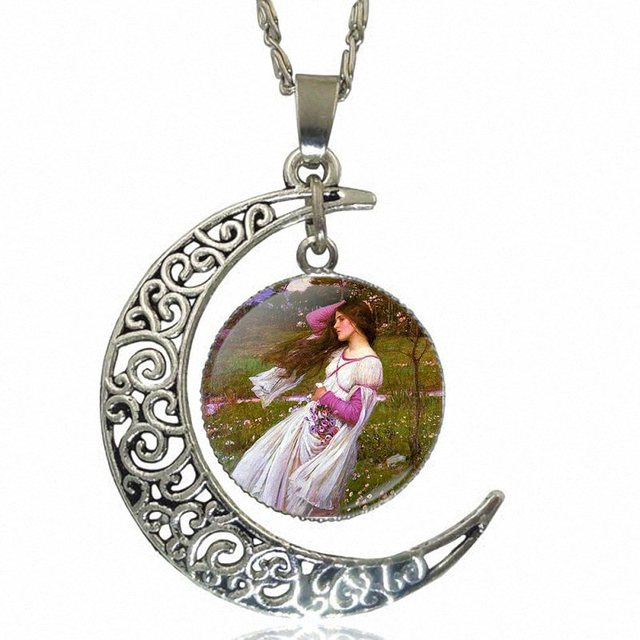 Vintage Jewelry Silver Plated With Crescent Shaped Luminous Necklace For Men Women Party Gift John William Waterhouse Boreas