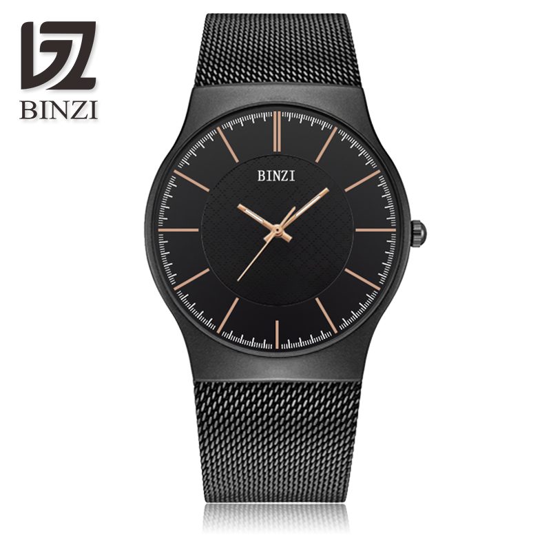 BINZI New Top Luxury Watches Men Brand Men's Watches Ultra Thin Stainless Steel Mesh Band Quartz Wristwatch Fashion Casual Watch bosck top luxury watch men brand men s watches ultra thin stainless steel band quartz wristwatch fashion casual leather watches