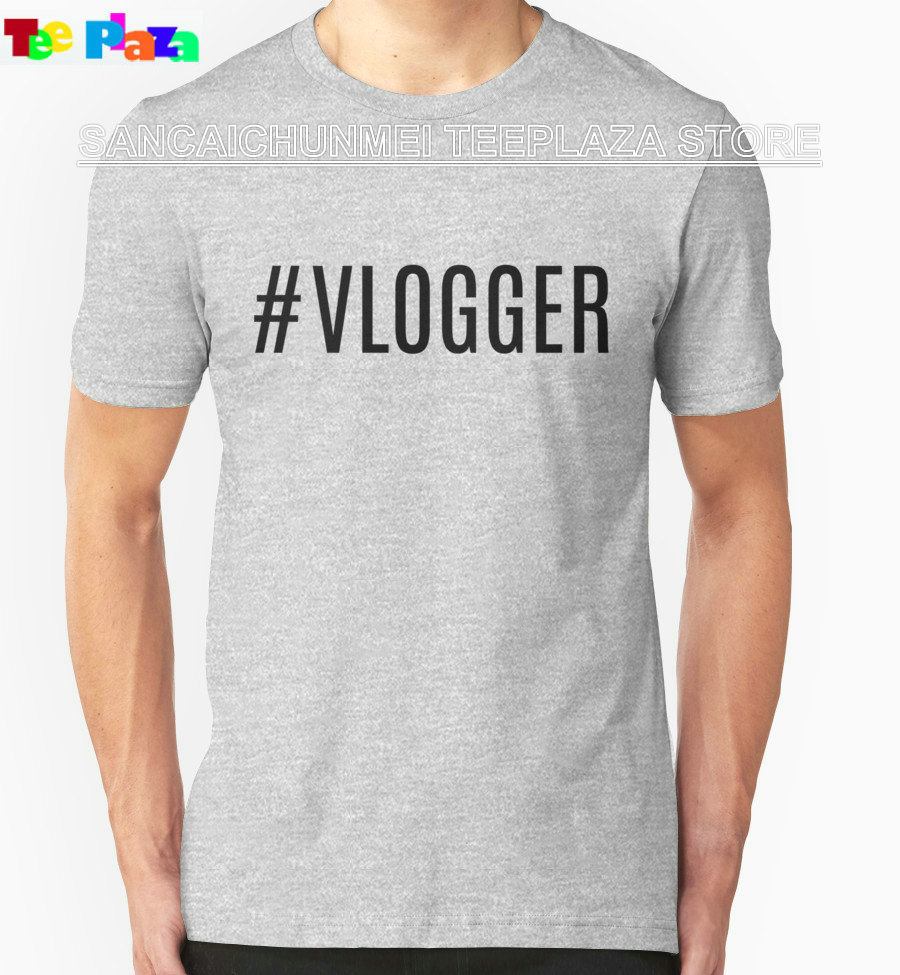 Teeplaza 2017 New T Shirt O Neck Hashtag Vlogger Men Short Sleeve Short T Shirts