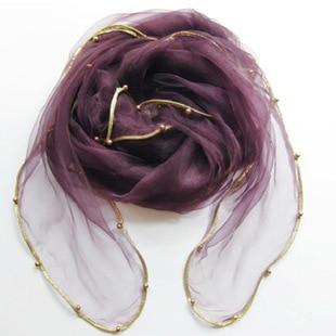 Женский летний Одноцветный полосатый шарф из органзы, украшенный бисером, женский весенний золотой ободок, длинный бисер, тонкая мягкая шаль