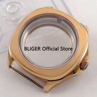 Effen BLIGER 40 MM Rose Gouden Horloge Case Saffierglas Rvs Case voor heren Horloge Fit ETA 2836 beweging C107