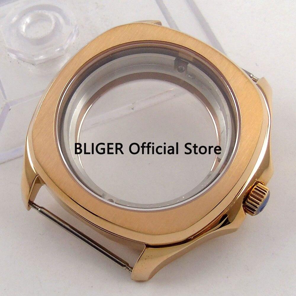 Solide BLIGER 40 MM Rose doré boîtier de montre en verre saphir boîte en acier inoxydable pour montre pour hommes Fit ETA 2836 mouvement C107