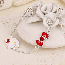 Xmas Gift For Daughter Trendy Sweet Cute Bracelet Female Korean Fashion Hello Kitty Bracelet Women Fashion Jewelry 2016