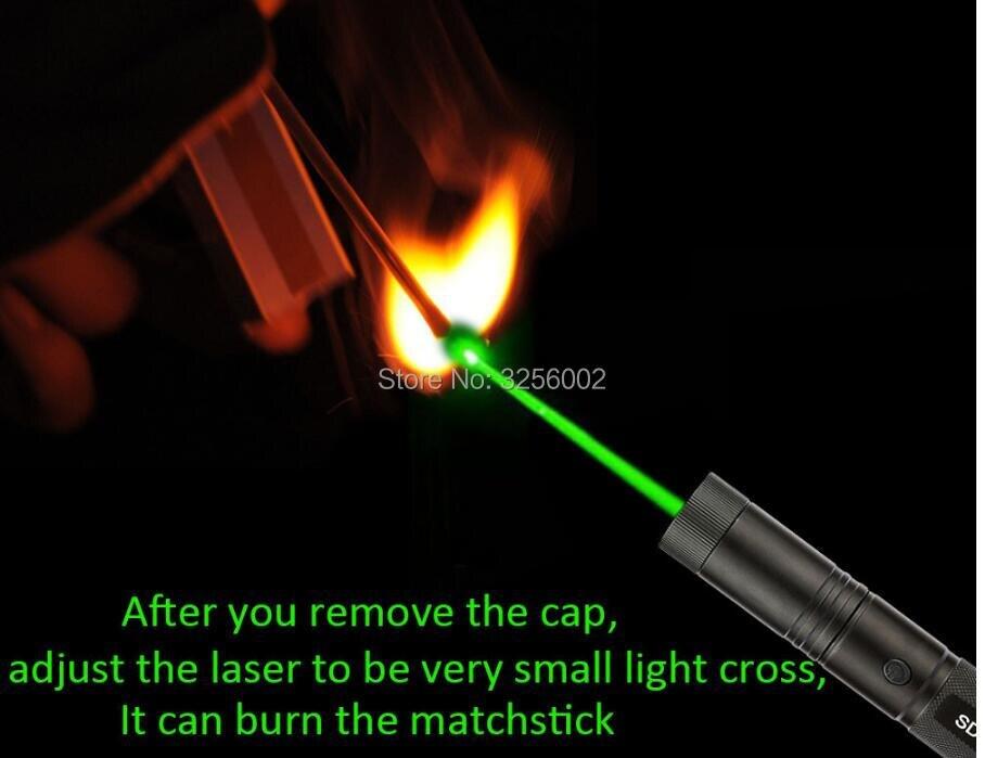 Yüksek Güç Askeri 100 W 10000 M 532nm Güçlü SDLaser 303 Yeşil Kırmızı Lazer işaretçi Kalem Lazer Işığı Odak Yanan Yanık sigara