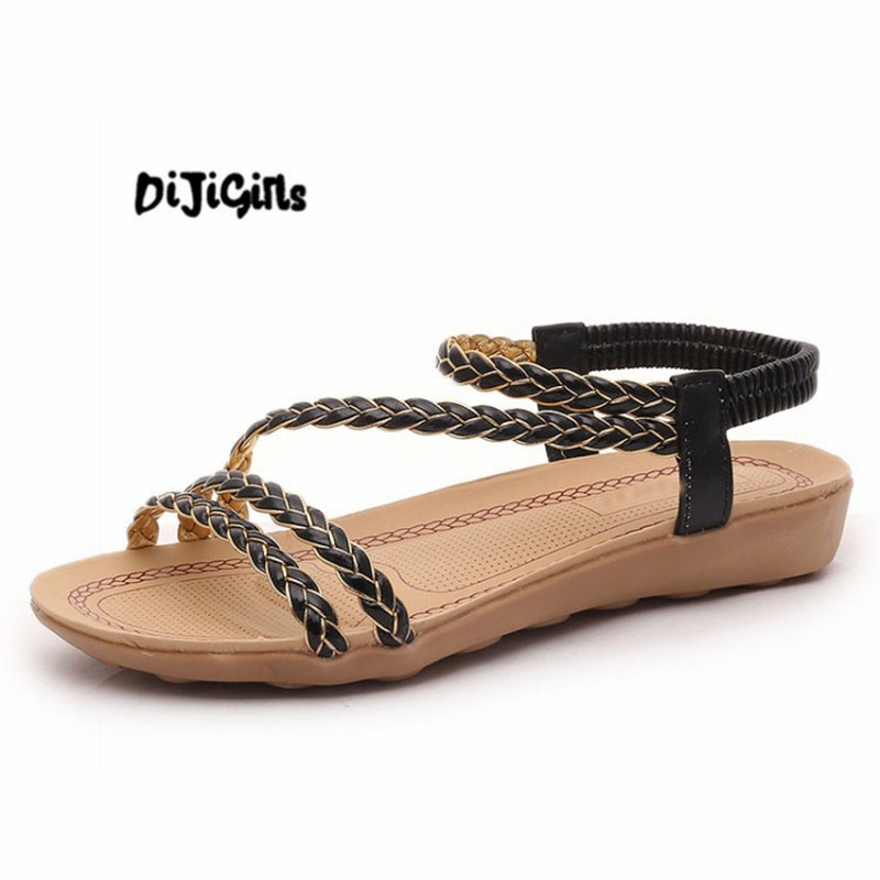 36-40 Plus Size Woman Shoes Fashion Bohemian Twist Woven Toe Sandwich Flat Sandals Summer Beach Ladies Shoes lankarin brand 2017 summer woman pointed toe flats ladies platform fashion rivet buckle strap flat shoes woman plus size