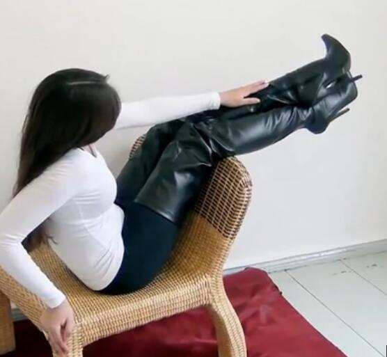 Chaussures femme black leather thigh high heel womens boots over the knee zipper pointed toe long slim botines winter 2020