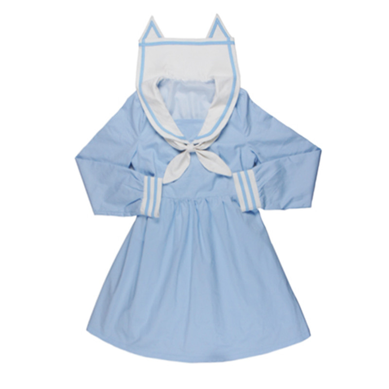 Soft Sister Blue/Pink Cute dresses Japan HARAJUKU Gothic Lolita Navy Style Dress Women Mori Style Fresh Cat Ears Collar OP Dress