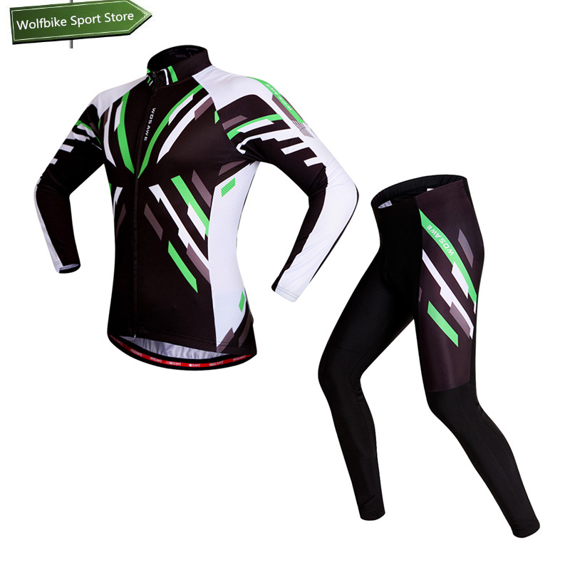 WOSAWE High Quality 2016 Cycling Jersey Sets Summer Spring Gel Pad Tights Ciclismo Long Sleeve Uniforms Cycling Clothing wosawe men s long sleeve cycling jersey sets breathable gel padded mtb tights sportswear for all season cycling clothings