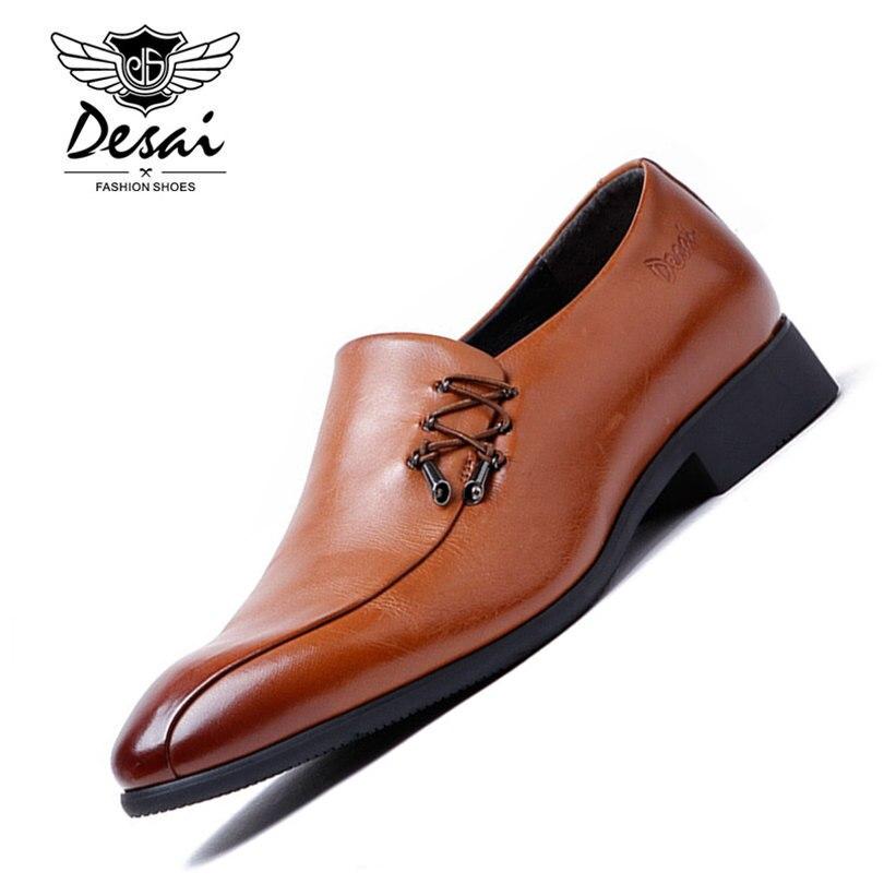Desai Brand Men Dress Shoes Genuine Leather 2017 Fashion Men's Oxford Shoes Leather Shoe Lace-up Size 38-43 desai luxury italy brand men s genuine leather classic dress shoes lace up business summer male derby shoes ds201608 11