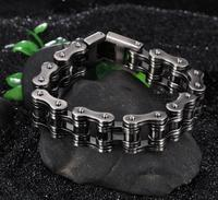 123g Heavy 16MM 9 High Quality Black Stainless Steel Motorcycle Chain Bike Design Bracelet Bangle For