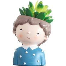 Bonito dos desenhos animados menino recipiente para casa jardim escritório decoração de mesa guardião para planta flor pote suculento pode
