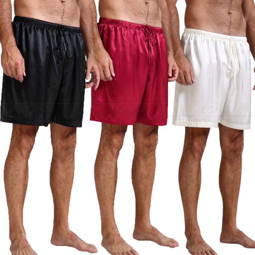 Мужская шелковая атласная пижама, штаны для отдыха, штаны для сна, p & p S ~ 4XL Plus