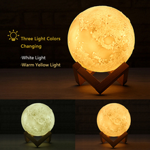 3D Printed Moon Lamp Luna Creative Light Home Decor USB LED Table Touch 2 Color Kids Night Light Room Decoration Christmas Gift
