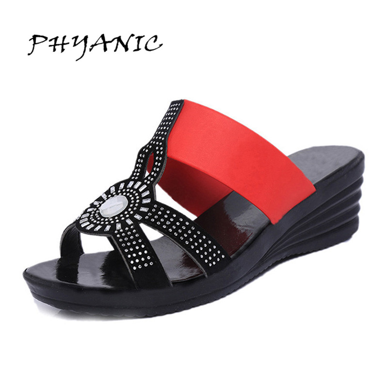 PHYANIC Woman Slides 2017 Summer New Fashion Crystal Bling Bling Slippers Wedges Heel Sandals Mix Color Shoes Woman PHY4146 phyanic 2017 summer women sandals platform wedges sandals hook