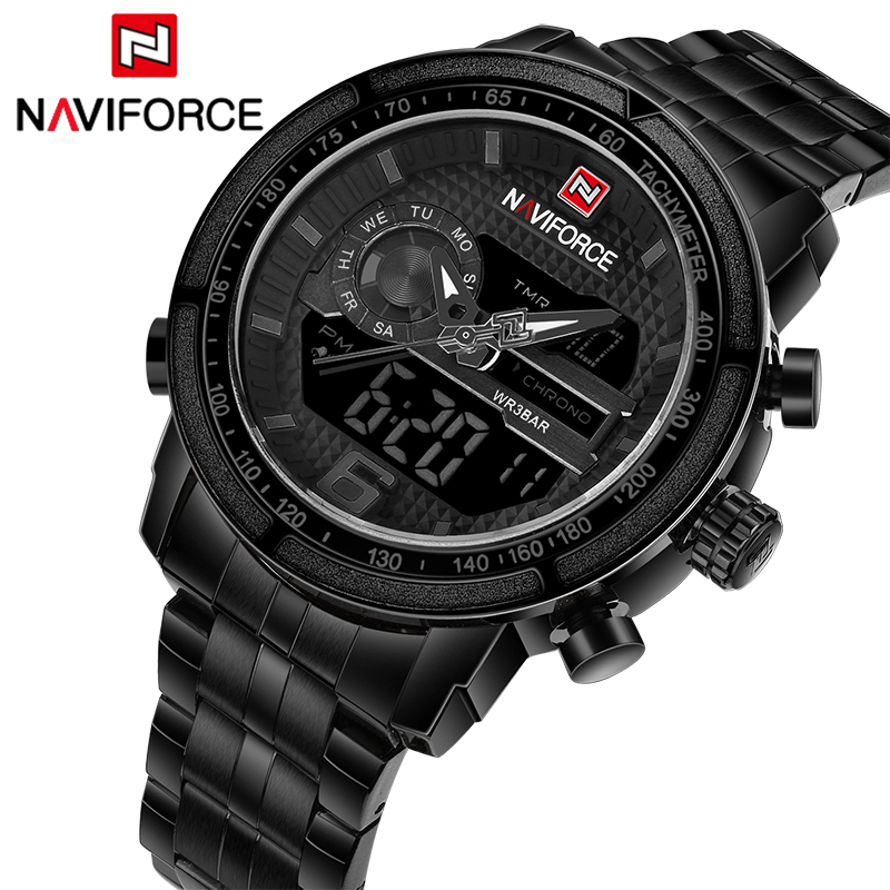 Watches Men NAVIFORCE Top Brand Men Quartz Watches Full Steel Male Clock Military Sport Waterproof Wristwatch Relogio Masculino silver professional foundation brush fish scale makeup brushes pro foundation powder blush contour brush fishtail cosmetic tool