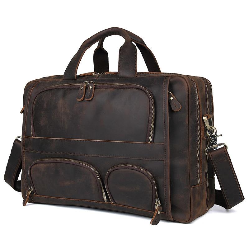 HTB1zpSPQIfpK1RjSZFOq6y6nFXai MAHEU Vintage Leather Mens Briefcase With Pockets Cowhide Bag On Business Suitcase Crazy Horse Leather Laptop Bags 2019 Design