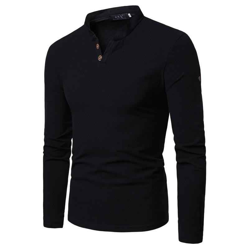 Men 39 s T Shirt V Neck Long sleeved Solid color Cotton Linen T shirt Casual Slim fit Summer Men 39 s Clothing Tops Tees in T Shirts from Men 39 s Clothing