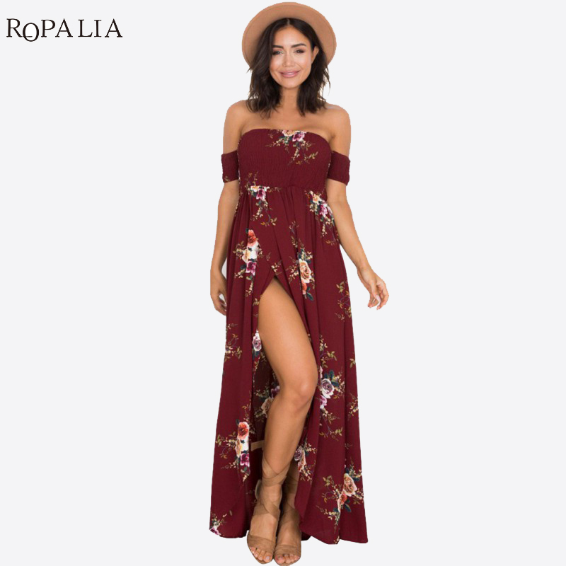 ROPALIA Summer Boho Dresses Long Dress Women Off Shoulder Beach Floral Print Vintage Chiffon Maxi Dress Vestidos Plus Size T7