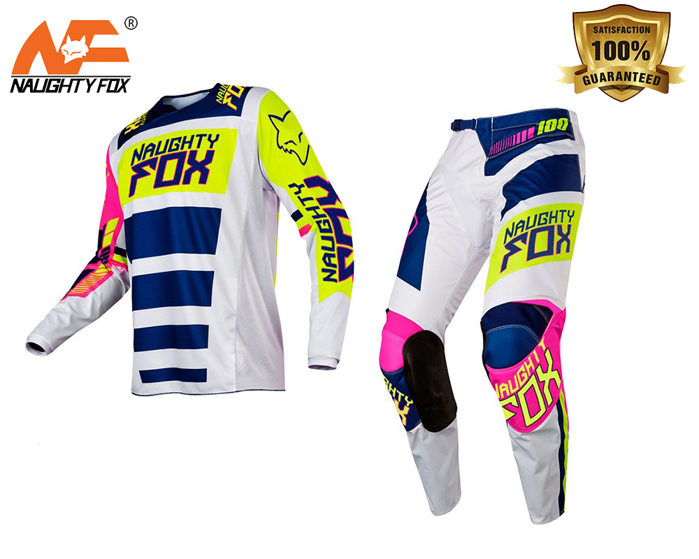 NAUGHTY Fox Racing Combo MX 180 Falcon Nirv White FLO Green Jersey Pants Motocross Gear off-road Racing Suit вьетнамки globe merkin combo black green white