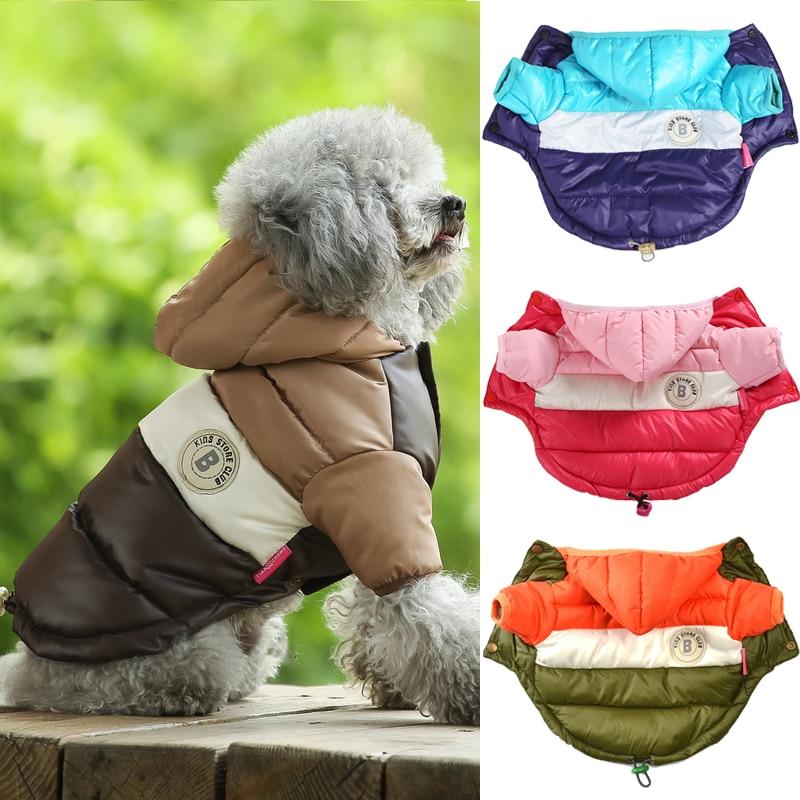 Зимняя одежда для домашних животных для собак, щенков Pet Теплая куртка-пуховик Куртка из искусственной кожи PU для малых и средних собак соба...