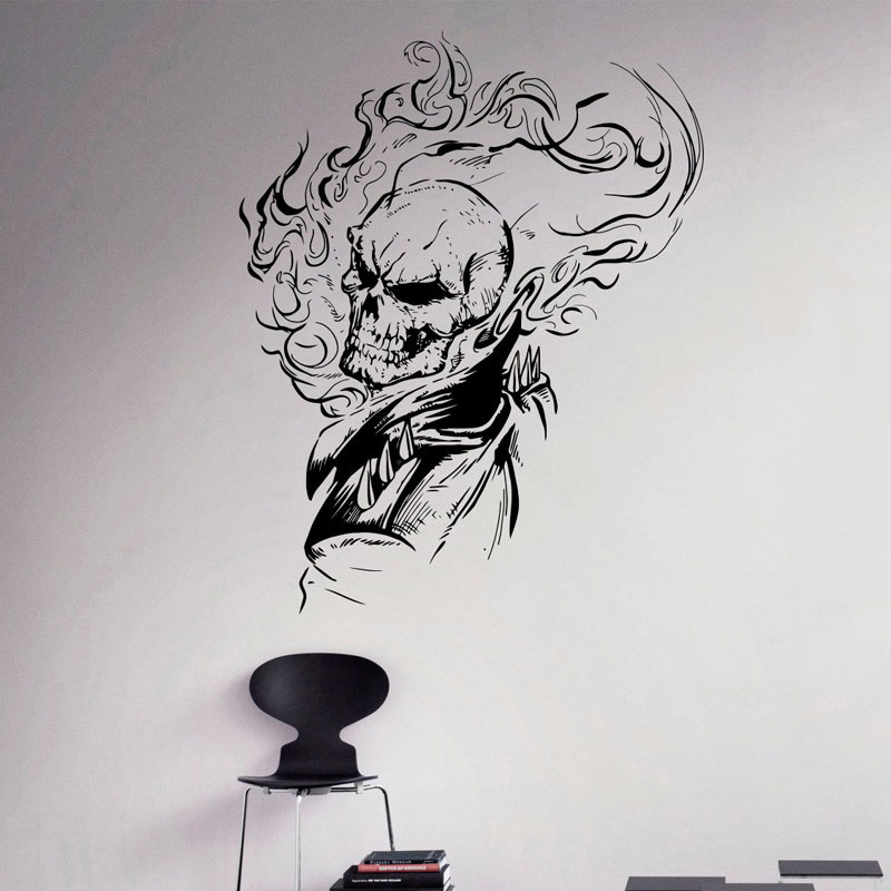 Ghost Rider Vinyl Decal Comics Antiheroes Wall Sticker Flaming Skull Home Interior Wall Graphics Bedroom Decor For Teen Boy SP41 in Wall Stickers from Home Garden
