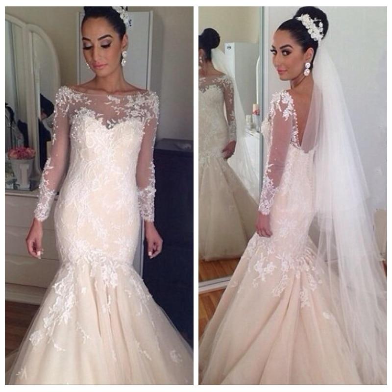 29b3d5ba380 Beautiful Lace Wedding Dresses Appliques Sheer Jewel Long Sleeves Bridal  Dresses 2019 Vestidos De Mariee Custom