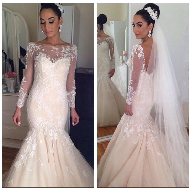 Beautiful Lace Wedding Dresses Appliques Sheer Jewel Long