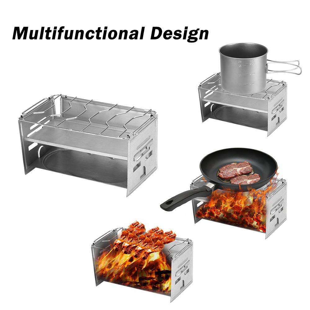 Portable Outdoor Stove Wood Stove Camping Wood Stove Stainless steel Grill Burning for Backpacking Survival Cooking BBQ Picnic image